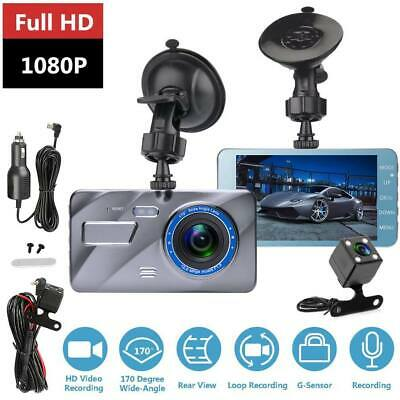 "4"" Car DVR Camera Dash Cam Front and Rear Video Recorder 170° 1080p Dual Lens"