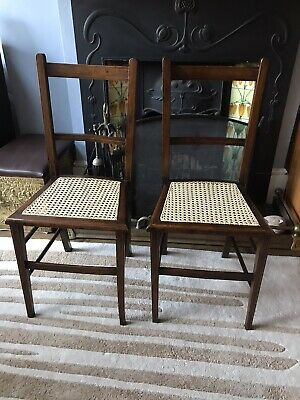 Pair Of Edwardian Oak Cane Chairs Bedroom Hall Rattan Antique Retro Vintage 1900