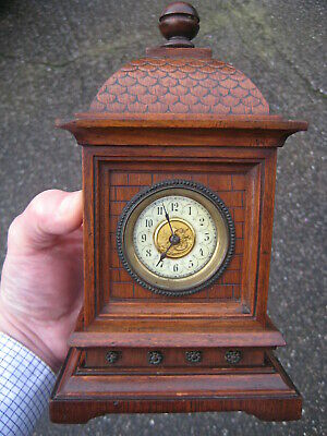 Original OLD German CLOCK - miniature CLOCK, small bracket clock in wooden case