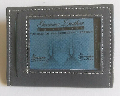 PURE  Leather Bus Pass travel card Wallet Holder with 3 window pockets GREY