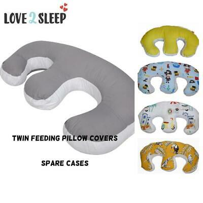 Twin Baby Feeding Pillowcase - Spare Plain Cover For Twin Feeding Pillow