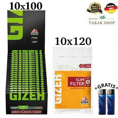10x120er Gizeh Slim Filter & 20x100er Gizeh Fine Green Papers Blättchen