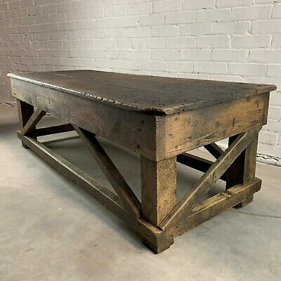 Antique Low Industrial Workbench Coffee Table with Single Plank Oak Top