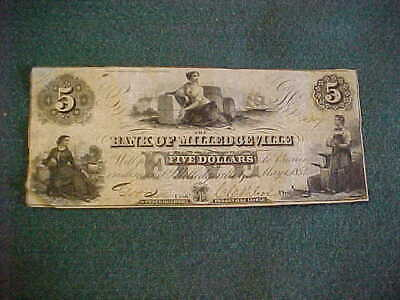 Antique Currency 1854 Bank of Milledgeville Georgia / Ga $5 Five Dollar Banknote