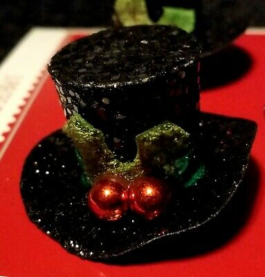 Lot Of Three Glittered Miniature Feather Tree Black Top Hat Christmas Ornaments