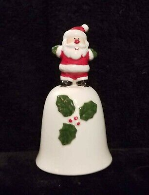 Cute Little Vintage Ceramic Christmas Bell With Santa Claus