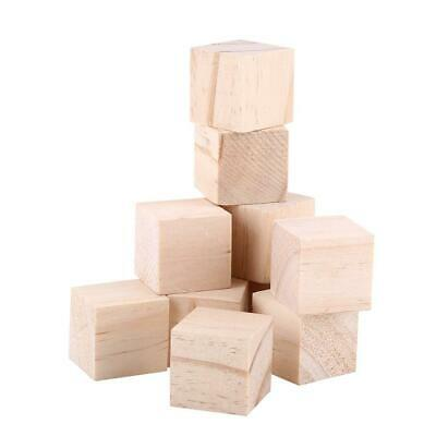 10pcs 25mm Natural Wood Square Blocks Cubes Woodwork Craft Accessary Durable NEW