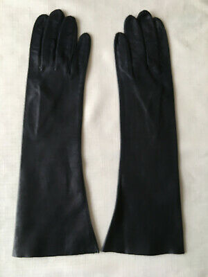 """Long Soft BLACK Leather Gloves - Made in Italy - Washable - 1960s - Size 7 1/2"""""""