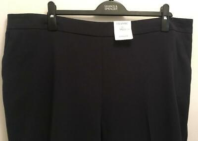 BNWT Marks & Spencer Navy Trousers, Partially Elasticated Waist, Size 22, M&S