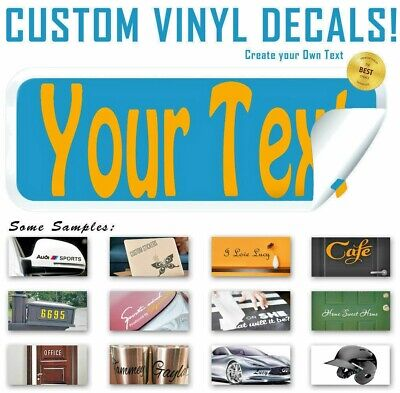 Custom Text Vinyl Decal Sticker Create Lettering Personalized Wall Window