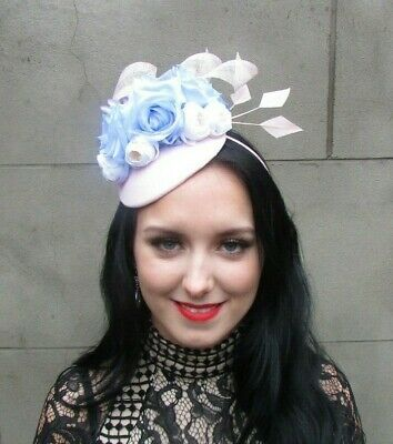 Pale Blush Pink White Light Blue Floral Flower Feather Hat Fascinator Races 9043