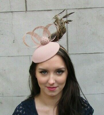 Nude & Brown Pheasant Feather Hat Fascinator Races Headpiece Wedding Ascot 9044