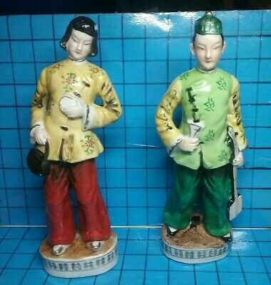 """Pair Vtg Chinese Asian Japanese Porcelain Figures of a Man&Woman 10"""" Handpainted"""