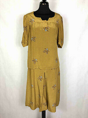 Vintage '60 Set Shirt Blouse Woman Silk Houndstooth Woman Suit SZ.M - 44