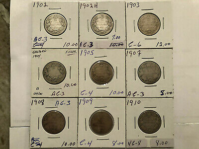 Lot Of 9 Old Canada 25 Cents Coins .925 Silver King Edward  Vii 1902 To 1910