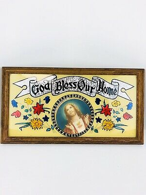 Vintage God Bless Our Home Sacred Heart of Jesus Religious Wall Mount Plaque