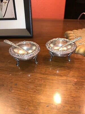 2 RARE 4 Pc With Spoons S.Kirk & Son #58 Sterling Silver Repousse Salt Cellars