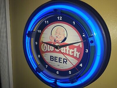 *Old Dutch Beer Bar Tavern Man Cave Advertising Blue Neon Wall Clock Sign