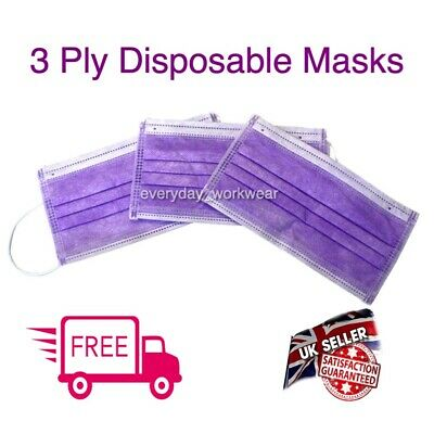 Purple Disposable Face Mask Surgical Dental Nail Salon Dust Medical Mouth UK