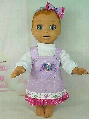 """Dolls clothes for 18"""" LUVABELLA DOLL~HOOT  PINAFORE~TOP~HAIR BOW"""