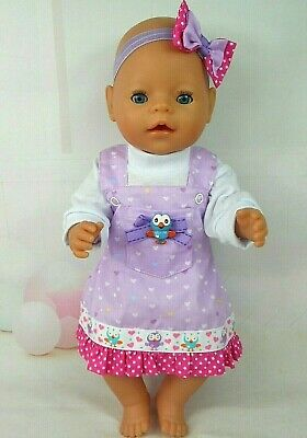 """Dolls clothes for 17"""" BABY BORN~16"""" CPK DOLL~HOOT  PINAFORE~TOP~HAIR BOW"""