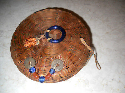 "7 1/2"" w Antique Chinese Wicker Sewing Basket with Tassels, Beads, Coins,"