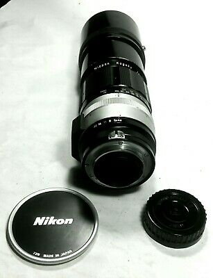 Nikon Nikkor-H 300mm F4.5 non-AI Lens with screw on front lens cap and rear cap