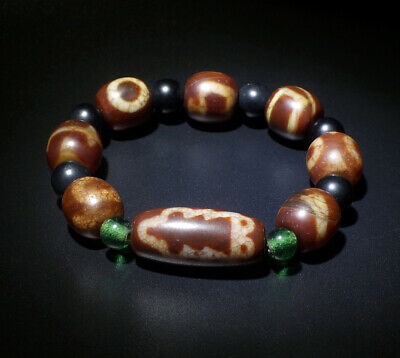 Authentic Old Tibetan Agate Dzi Beads 'Mammon' Bracelet Blessed By Eminent Lama