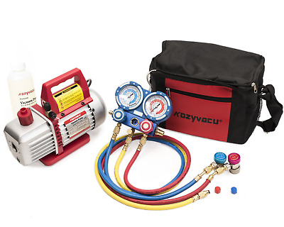 Kozyvacu AUTO AC Repair Complete Tool Kit with 1-Stage 3.5 CFM Vacuum Pump, Set,