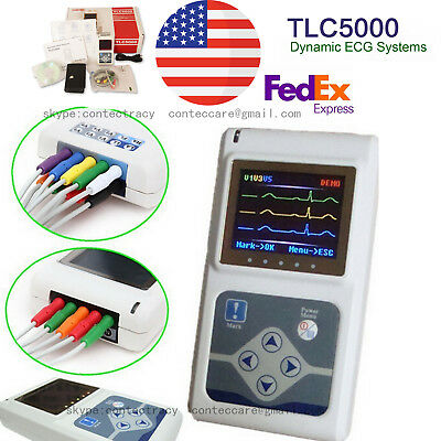 USA Portable 12 Channel 24Hours ECG EKG Holter Analyze System Recorder TLC5000