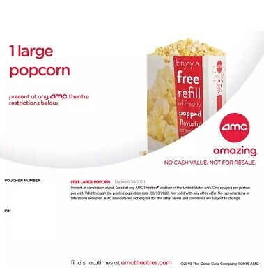 AMC: 1 Large Popcorn, Expires 12/31/2020, Fast E-Delivery