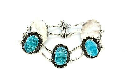 Antique 1900's Egyptian Revival 800 Silver Faience Scarab Bracelet