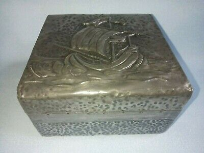Antique Arts & Crafts Embossed Pewter Wood Lidded Trinket Box SHIP