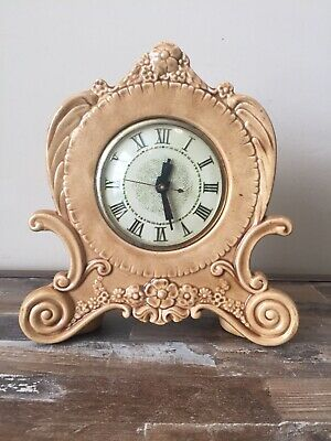 Vintage Holland Mold Ceramic Mantle Lanshire Electric Clock Tan Floral