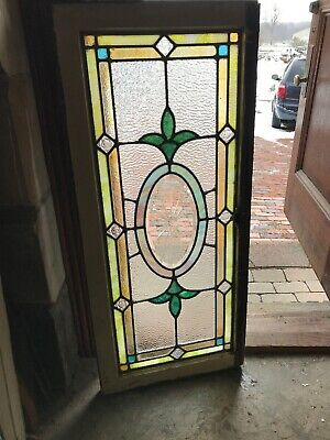 Sg 3202 Antique stained and Beveled glass Transom Window 19.5 x 44.5