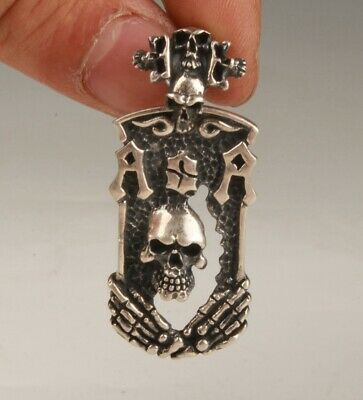 925 Silver Hand-Carved Skull Statue Necklace Pendant Private Custom-Made Old