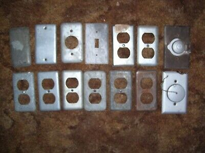 Lot of 14 Vintage Used Galvanized Steel Outlet Light Switch Covers