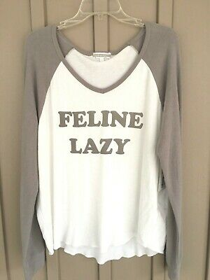 NWT PJ Salvage Raining Cats and Dogs Feline Lazy Long Sleeve Top RKRALS1