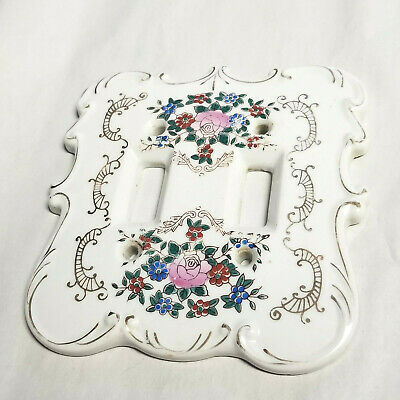 VTG Ceramic Porcelain Floral Rose Shabby Chic Double Light Switch Plate Cover