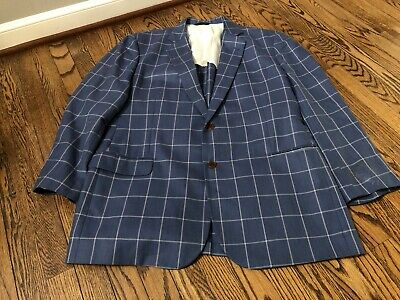 Brooks Brothers Madison Fit Two-Button 1818 Blazer Wool Silk Blue Check Size 48L