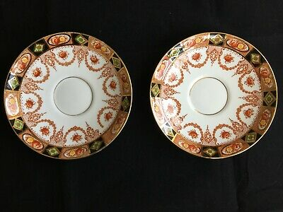 TWO Vintage / Antique Royal Albert Crown China No 3961 Gilded Cup Saucers VGC