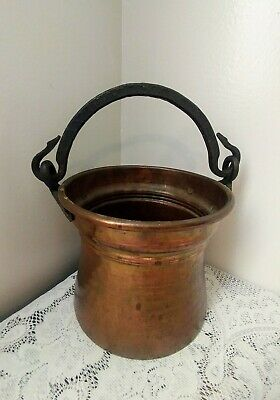 Antique Vtg Hand Hammered Copper Pot Kettle Wrought Iron Handle Made In Turkey