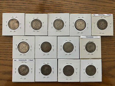 Lot 25 Cents 13 Coins George V 1911 To 1936 Silver Clearance Price