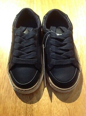 Bnwt Marks And Spencer Infant Boys Navy Lace-Up Trainers/Shoes, Size 7 (Eur 24)