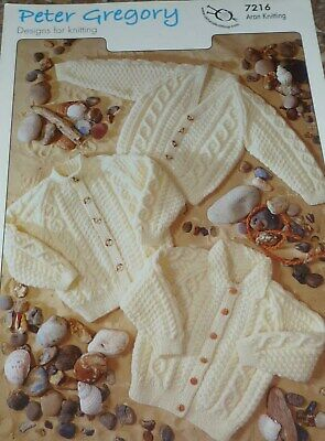 Peter Gregory aran    childs Knitting Pattern cardigan 7216