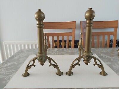 Interesting Pair Of 19Thc Cast Brass Gothic Revival/Awn Pugin Design Fire Dogs