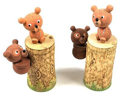 Folk Art Wood Carving Bears on a Stump, Wooden Container - Set of 2