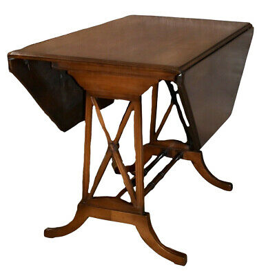 Vintage Traditional Style Octagon Shaped Drop Leaf Table w/Stretcher Base