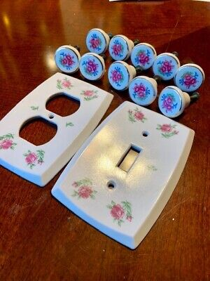 Vintage  Set of 10 Ceramic Knobs , Plastic Switch  Cover & Outlet Cover Roses