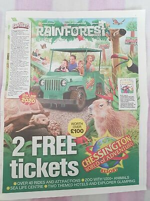 2 x Chessington World of Adventures, Sea Life & Zoo Tickets - 10 Tokens & Form